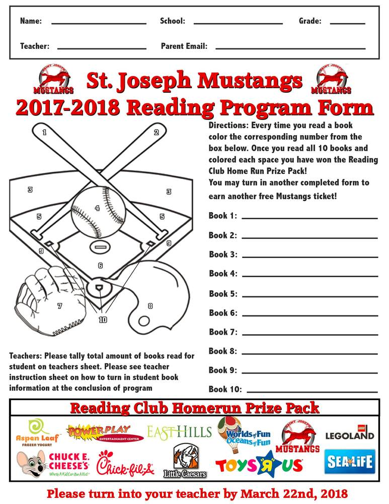Rushville Elementary Students eligible to participate in St. Joseph Mustangs Reading Program