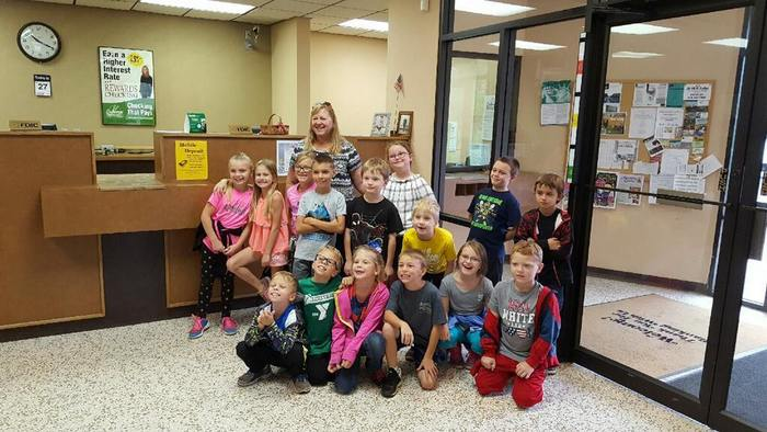 Ms. Henderson's class at Rushville Bank.