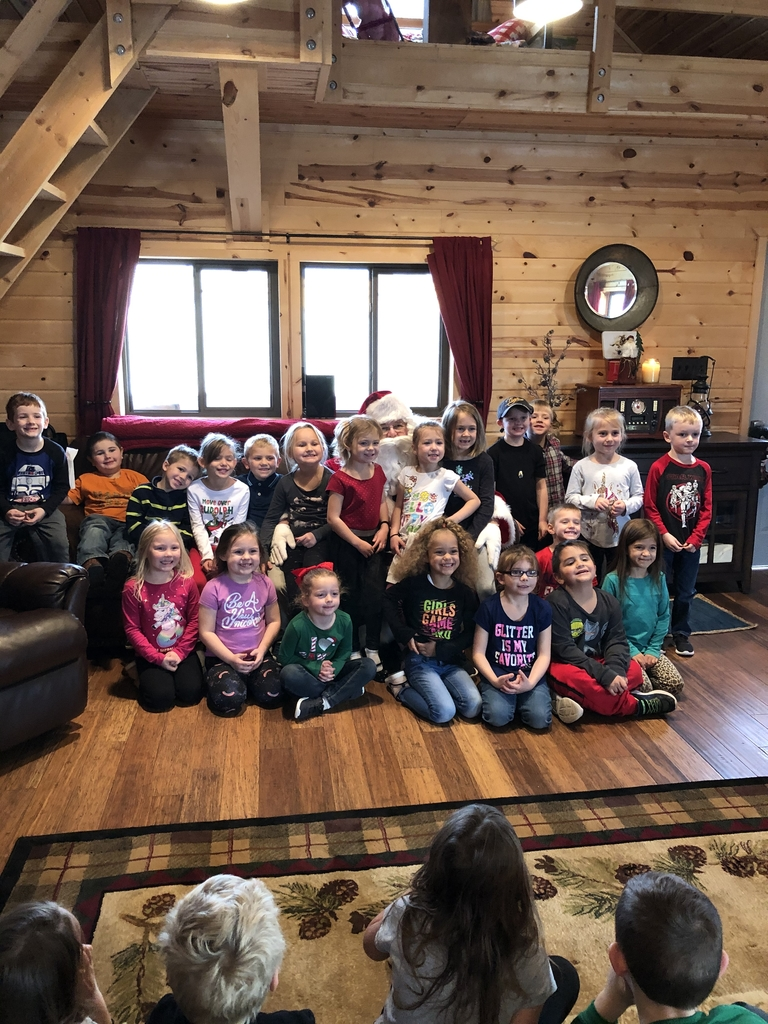 The kindergarten class with Santa