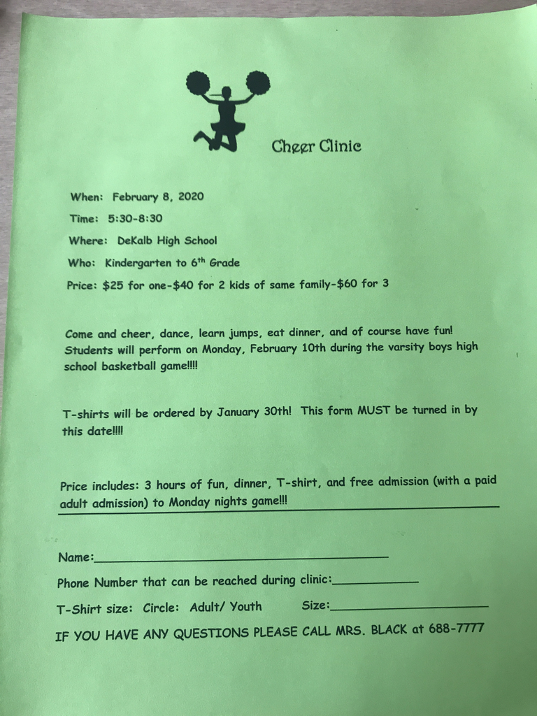 "Elementary ""Cheer Clinic"" forms due this Thursday!!!"