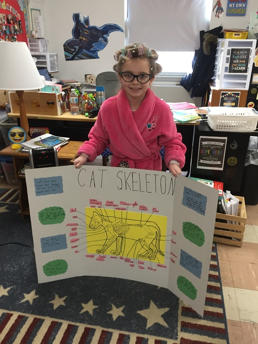 Brinkley Frakes learned about the bones in a cat skeleton and presented it to the class in an awesome display.